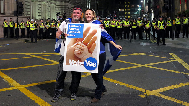 Yes campaigners with massive police backdrop - CC Gerard Ferry
