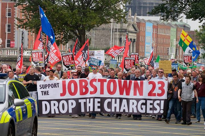 Jobstown 23 Drop the Charges banner on the Quays in Dublin