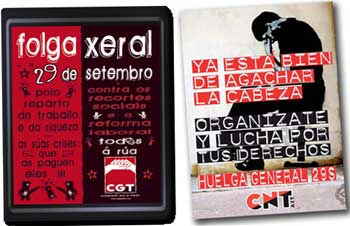 Anarchist posters for Spanish General strike